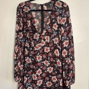 70s inspired floral print long sleeve dress